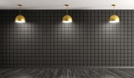 Guld- lampor mot av tolkning för bakgrund 3d för vägg inre vektor illustrationer