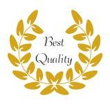 Guld- Laurel Wreath med den bästa kvalitets- `en för ord`, royaltyfri illustrationer