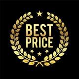 Guld- Laurel Wreath Mest bra prisutmärkelse Guld- till salu emblemdesignbeståndsdel och att sälja i minut illustrationen för tema Arkivbilder