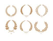 Guld- Laurel Wreaths Vector Collection Arkivfoto