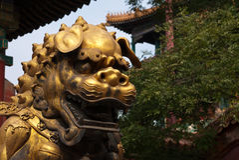 Guld- lejon i Forbidden City, Peking Royaltyfri Fotografi