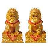 Guld- lejonstaty Royaltyfria Bilder