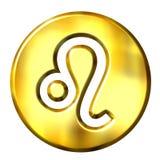 guld- leo teckenzodiac för 3d Royaltyfri Fotografi