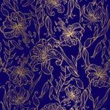 Guld- liljor på ett mörkt - blå bakgrund seamless modell vektor vektor illustrationer