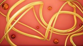 Guld- linje bakgrund för 3D-abstrakt begreppillustration stock illustrationer