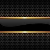 Guld- linje för abstrakt svart glansigt baner på vektor för bakgrund för design för honungskakaingreppsmodell lyxig vektor illustrationer