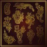 Guld- linje för blommadesign för konst utsmyckad samling, Arkivfoto