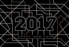 Guld- linje konsthälsningkort för lyckligt nytt år 2017 Arkivbilder