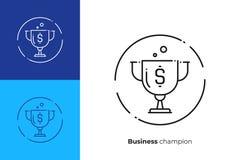 Guld- linje konstvektorsymbol för bända vinnare för kopp royaltyfri illustrationer