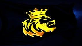 Guld- Lion King Flag Intro Logo med bl? bakgrund royaltyfri illustrationer