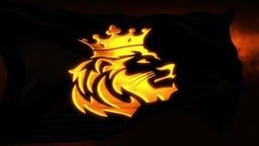 Guld- Lion King Flag Intro Logo r?relsebakgrund royaltyfri illustrationer