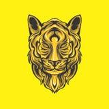 Guld- lionhuvud royaltyfri illustrationer