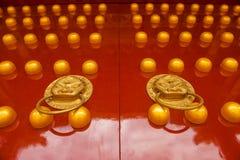 guld- lionred för kinesisk dörr Royaltyfria Foton