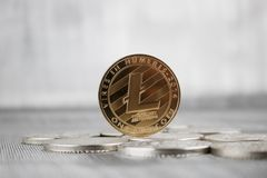 Guld- Litecoin mynt Royaltyfri Fotografi