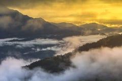 Guld- ljus bakgrund för landskaplagerberg Arkivfoto