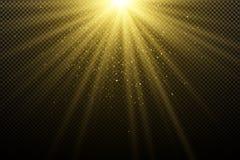 Guld- ljus effekt på en mörk genomskinlig bakgrund Att glo bokeh Guld- magiska strålar Ljus explosion solljus Jullig vektor illustrationer