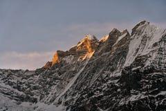 Guld- ljus skiner toppmötet arkivfoto