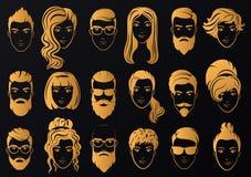 Guld- logo för vektor av lyxiga män med stilfulla skägg och kvinnor royaltyfri illustrationer