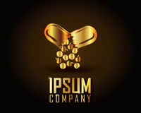 Guld- Logo Vector Fotografering för Bildbyråer