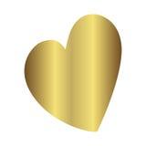 Guld- lutningfoliehjärta, guld- design för valentindagförälskelse royaltyfri illustrationer