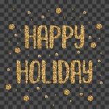 Guld- lycklig ferie skimrar bokstäver Arkivfoto