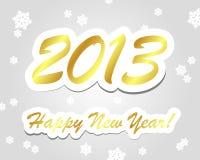 Guld- lyckligt nytt år 2013 stock illustrationer