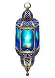 Guld- lykta för tappning med ett blått glöd stock illustrationer