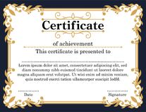 Guld- lyxig certifikatmall Fotografering för Bildbyråer