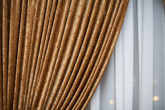 Guld- lyxig gardin Royaltyfria Bilder