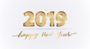 Guld- lyxig lyckligt nytt år för text 2019 stock illustrationer