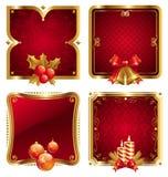 guld- lyxigt nytt s år för julramar vektor illustrationer