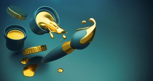 Guld- målarfärg med färgstänk och konstborsten Fotografering för Bildbyråer
