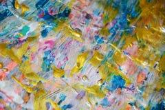 Guld- målarfärgtextur, vaxartad abstrakt bakgrund, livlig bakgrund för vattenfärg, textur Fotografering för Bildbyråer
