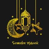 Guld- måne, lykta och stjärnor för Ramadan Kareem vektor illustrationer