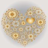 Guld- mönstrad hjärta stock illustrationer