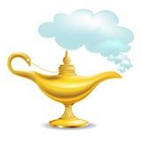 Guld- magisk lampa med oklarheten Royaltyfri Bild