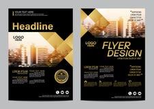Guld- mall för broschyrorienteringsdesign Bakgrund för presentation för räkning för årsrapportreklambladbroschyr modern illustrat royaltyfri illustrationer