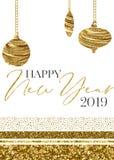 Guld- mall 2019 för kort för lyckligt nytt år för prydnad stock illustrationer