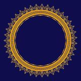 Guld- Mandala för henna, Mehndi, kort, garnering Curcular modell vektor illustrationer