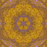 Guld- mandala, gul arabesque för runda royaltyfri illustrationer