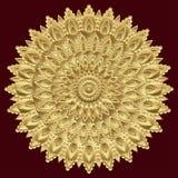 Guld- mandala, indisk prydnad Östlig etnisk design, orientalisk modell, rund guld Lyx dyrbar juvel, lövsågsarbete som är dyr Royaltyfria Foton