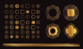 Guld- mandala på svart bakgrund Royaltyfri Foto