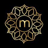 Guld- mandalamonogram stock illustrationer