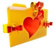 Guld- mapp med den röd bowen och hjärta Royaltyfri Fotografi