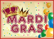 Guld- Mardi Gras designbeståndsdel Karnevalbakgrund Två karnevalkronor Royaltyfri Foto