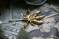 Guld- marijuanablad på högkvalitativ tjugotal Royaltyfria Foton