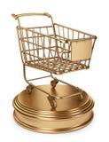 Guld- marknadsvagn. Begrepp för mest bra säljare. isolerad 3D Royaltyfria Bilder