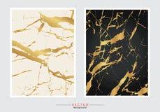 Guld- marmorräkningsbakgrund, fastställd mall för vektor vektor illustrationer