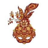 Guld- maskering för vektorkarneval för teater och festivaler stock illustrationer