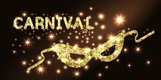 guld- maskering för karneval Arkivbild